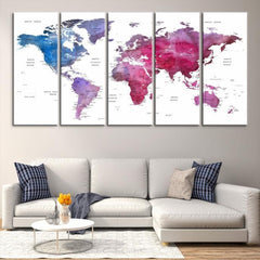 87207 - Large Wall Art World Map Canvas Print- Custom World Map Push Pin Wall Art- Custom World Map Canvas Poster Print- Personalized Wall Art-Extra Large Wall Art Canvas Print-Extra Large Wall Art Canvas Print