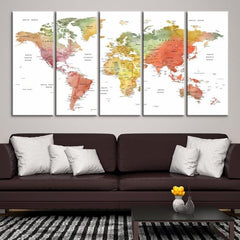 88202 - Large Wall Art World Map Canvas Print- Custom World Map Push Pin Wall Art- Custom World Map Canvas Poster Print- Personalized Wall Art-Extra Large Wall Art Canvas Print-Extra Large Wall Art Canvas Print