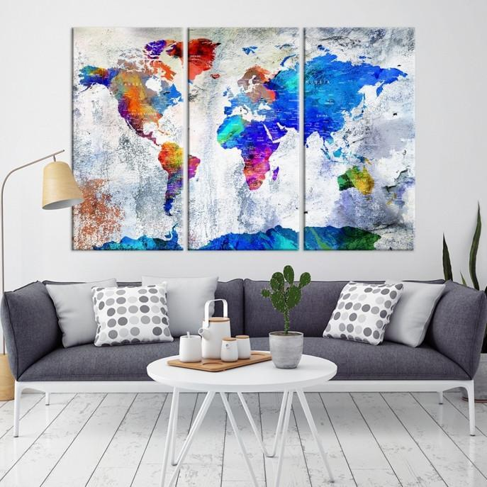 88352 - World Map Wall Art- World Map Canvas- World Map Print- World Map Poster- World Map Art- World Map Push Pin- Push Pin World Map-Giclee Canvas Print-Extra Large Wall Art Canvas Print-Extra Large Wall Art Canvas Print