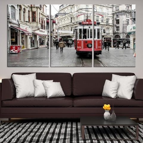 91476 - Large Wall Art Turkey Istanbul Skyline Canvas Print-Giclee Canvas (Wrapped)-AZULA Istanbul-Short 3 Panel-3-16x24-Extra Large Wall Art Canvas Print
