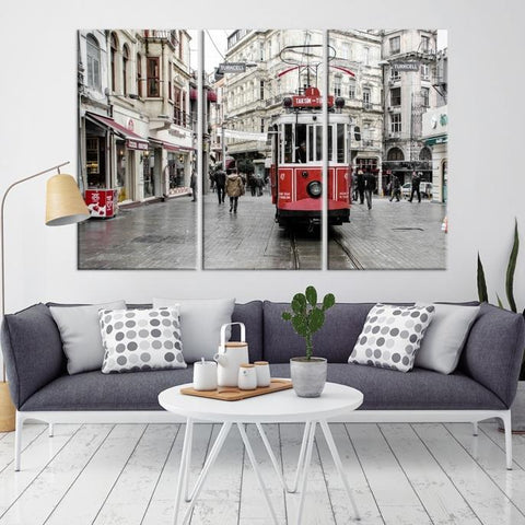91476 - Large Wall Art Turkey Istanbul Skyline Canvas Print-Giclee Canvas (Wrapped)-AZULA Istanbul-Long 3 Panel-Per Panel 16x32 Inches-Extra Large Wall Art Canvas Print