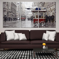91689 - Large Wall Art Turkey Istanbul Skyline Canvas Print-Giclee Canvas (Wrapped)-AZULA Istanbul-Short 3 Panel-3-16x24-Extra Large Wall Art Canvas Print