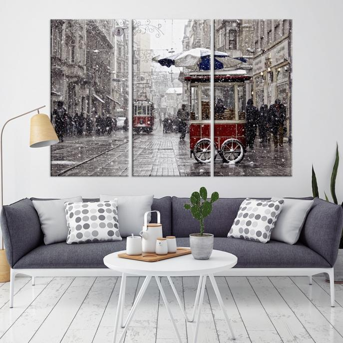 91689 - Large Wall Art Turkey Istanbul Skyline Canvas Print-Giclee Canvas (Wrapped)-AZULA Istanbul-Long 3 Panel-Per Panel 16x32 Inches-Extra Large Wall Art Canvas Print