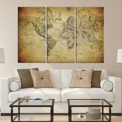 92026 - Large Wall Art World Map Canvas Print- Old World Map Travel Canvas Print- Modern XXL Large Wall Art World Map Canvas Print-Giclee Canvas Print-Extra Large Wall Art Canvas Print-Extra Large Wall Art Canvas Print