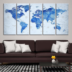 92200 - Large Wall Art World Map Canvas Print- Custom World Map Push Pin Wall Art- Custom World Map Canvas Poster Print- Personalized Wall Art-Extra Large Wall Art Canvas Print-Extra Large Wall Art Canvas Print