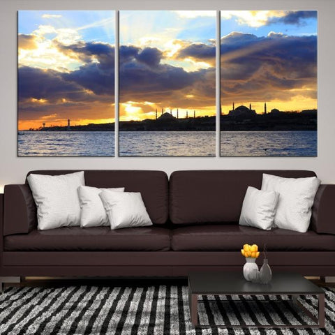 93161 - Large Wall Art Turkey Istanbul Skyline Canvas Print-Giclee Canvas (Wrapped)-AZULA Istanbul-Short 3 Panel-3-16x24-Extra Large Wall Art Canvas Print