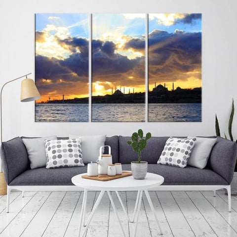 93161 - Large Wall Art Turkey Istanbul Skyline Canvas Print-Giclee Canvas (Wrapped)-AZULA Istanbul-Long 3 Panel-Per Panel 16x32 Inches-Extra Large Wall Art Canvas Print