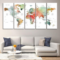 93603 - Large Wall Art World Map Canvas Print- Custom World Map Push Pin Wall Art- Custom World Map Canvas Poster Print- Personalized Wall Art-Extra Large Wall Art Canvas Print-Extra Large Wall Art Canvas Print