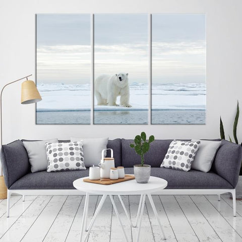 94574 - Large Wall Art Polar Bears Canvas Print - Framed - Ready to Hang-Giclee Canvas Print-Push-Pin-World-Map-Extra Large Wall Art Canvas Print