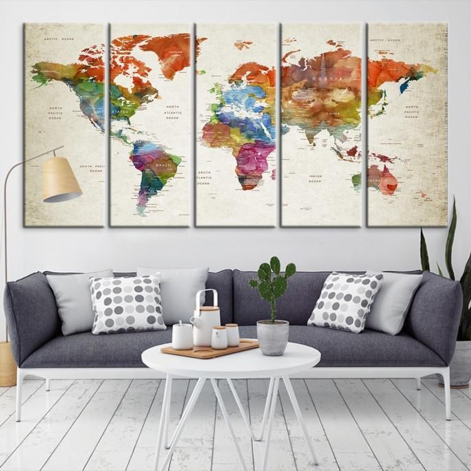 96084 - Large Wall Art World Map Canvas Print- Custom World Map Push Pin Wall Art- Custom World Map Canvas Poster Print- Personalized Wall Art-Extra Large Wall Art Canvas Print-Extra Large Wall Art Canvas Print