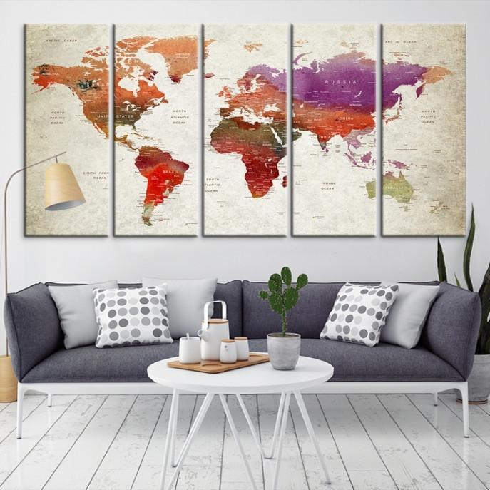 96397 - Large Wall Art World Map Canvas Print- Custom World Map Push Pin Wall Art- Custom World Map Canvas Poster Print- Personalized Wall Art-Extra Large Wall Art Canvas Print-Extra Large Wall Art Canvas Print
