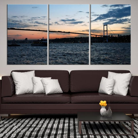 96682 - Large Wall Art Turkey Istanbul Skyline Canvas Print-Giclee Canvas (Wrapped)-AZULA Istanbul-Short 3 Panel-3-16x24-Extra Large Wall Art Canvas Print