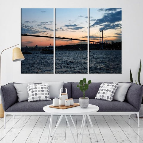 96682 - Large Wall Art Turkey Istanbul Skyline Canvas Print-Giclee Canvas (Wrapped)-AZULA Istanbul-Long 3 Panel-Per Panel 16x32 Inches-Extra Large Wall Art Canvas Print