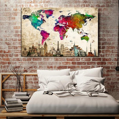 97068 - World Map Canvas Print, Wonder of World Map Push Pin Canvas Print, Large Wall Art World Map Push Pin Canvas,-Giclee Canvas Print-Push-Pin-World-Map-Extra Large Wall Art Canvas Print