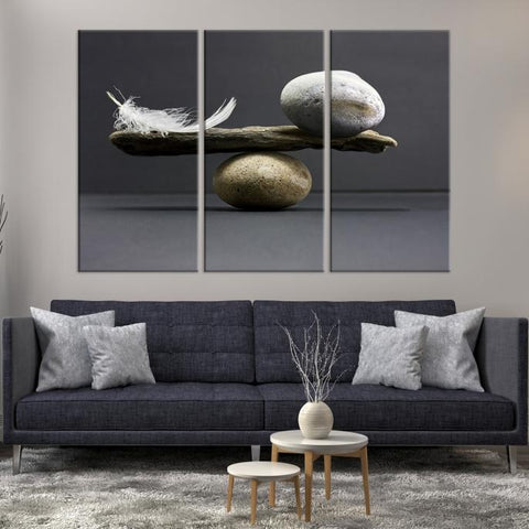 98814 - Large Wall Art Seesaw with Stones and Feather Canvas Print-Giclee Canvas Print-Push-Pin-World-Map-Extra Large Wall Art Canvas Print