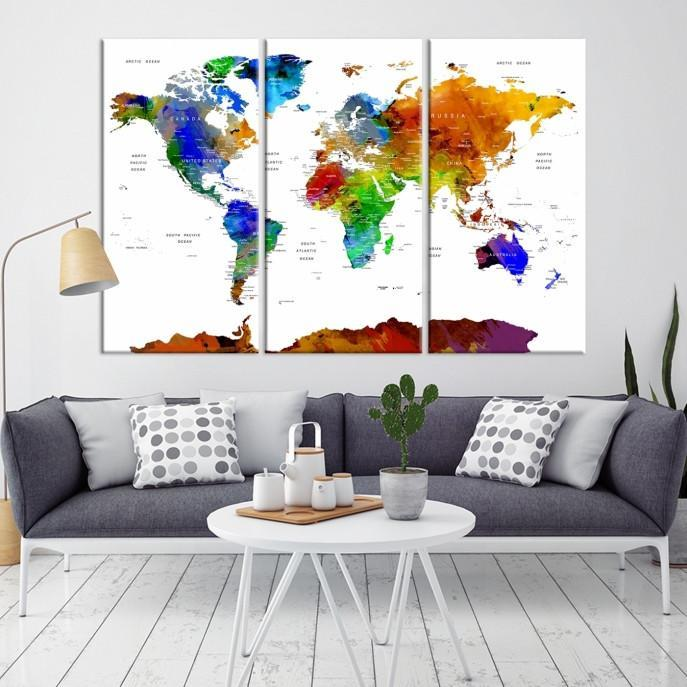 98876 - Watercolor 3 Panel World Map Print | Framed | Ready to Hang-Giclee Canvas Print-Extra Large Wall Art Canvas Print-Extra Large Wall Art Canvas Print