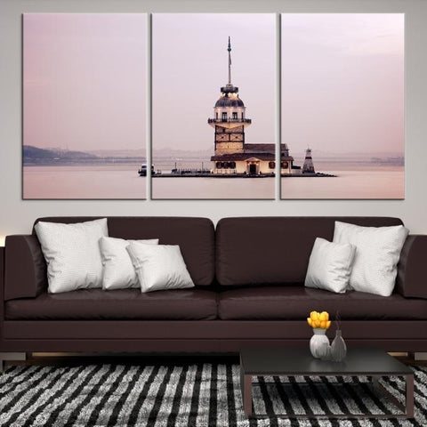 99495 - Large Wall Art Turkey Istanbul Skyline Canvas Print-Giclee Canvas (Wrapped)-AZULA Istanbul-Short 3 Panel-3-16x24-Extra Large Wall Art Canvas Print