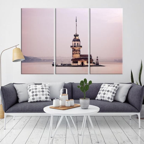99495 - Large Wall Art Turkey Istanbul Skyline Canvas Print-Giclee Canvas (Wrapped)-AZULA Istanbul-Long 3 Panel-Per Panel 16x32 Inches-Extra Large Wall Art Canvas Print