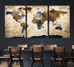 Grunge Blue and Brown World Map Wall Art Canvas Print-Extra Large Wall Art Canvas Print