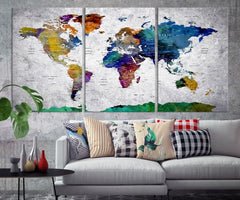 World Map Canvas Print-Extra Large Wall Art Canvas Print