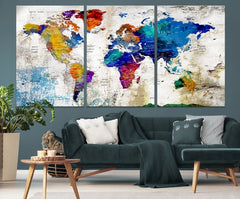 Navy Blue Large Wall Art World Map Push Pin Canvas Print-Extra Large Wall Art Canvas Print