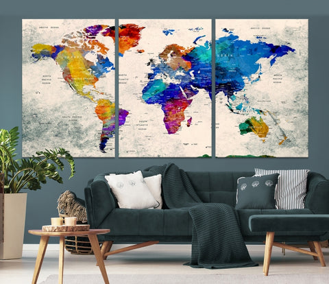 Watercolor World Map Wall Art Canvas Print-Extra Large Wall Art Canvas Print