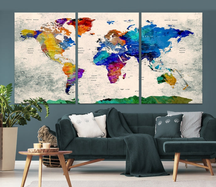 Large World Map Print on Canvas-Extra Large Wall Art Canvas Print