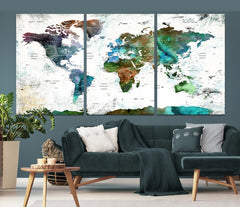 World Map Push Pin Canvas Print-Extra Large Wall Art Canvas Print