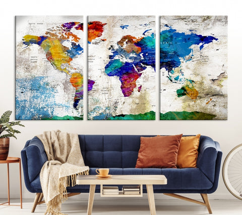 Large Wall Art Push Pin World Map, Push Pin, World Map, Wall Art Canvas, Push Pin Map, Navy Blue Wall Art, Pushpin World Map Print,-Extra Large Wall Art Canvas Print