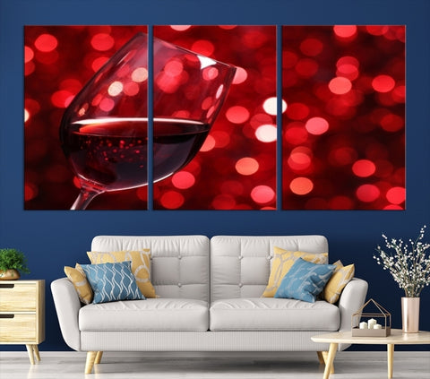 77806 - Red Wine in Glass with a Shiny Red Background Canvas Print