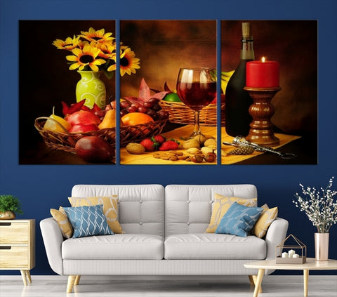 91889 - Large Wall Art Romantic Table with Wine, Flower, Candle and Fruits Canvas Print