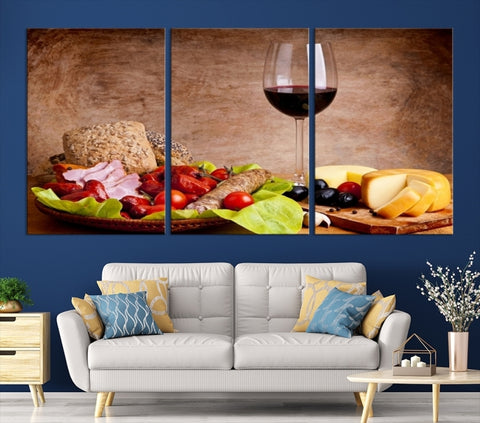 26204 - LArge Wall Art Red Wine and Appetizers Cheese Canvas Print