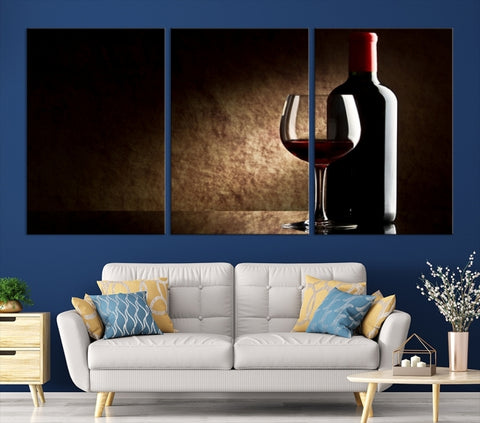 86595 - Large Wall Art Red Vine in Glass with Bottle Canvas Print