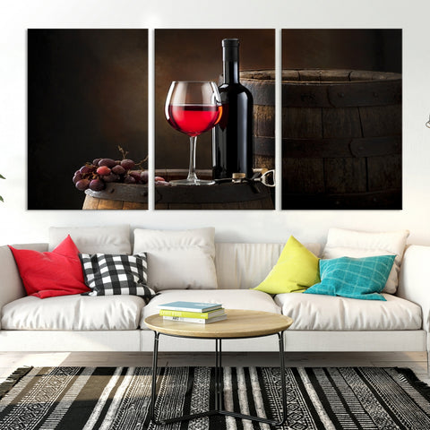 83702 - Large Wall Art Red Wine Bottle and Tun Canvas Print