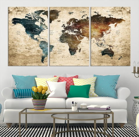 55201 - Watercolor World Map Wall Art Canvas Print | Large Wall Art Push Pin World Map Canvas Prints | World Travel Map Canvas Print