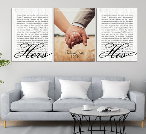 Wedding Vow First Lyrics Personalized Wall Art Canvas Print, Anniversary Gift Art, Wedding Gift-Extra Large Wall Art Canvas Print