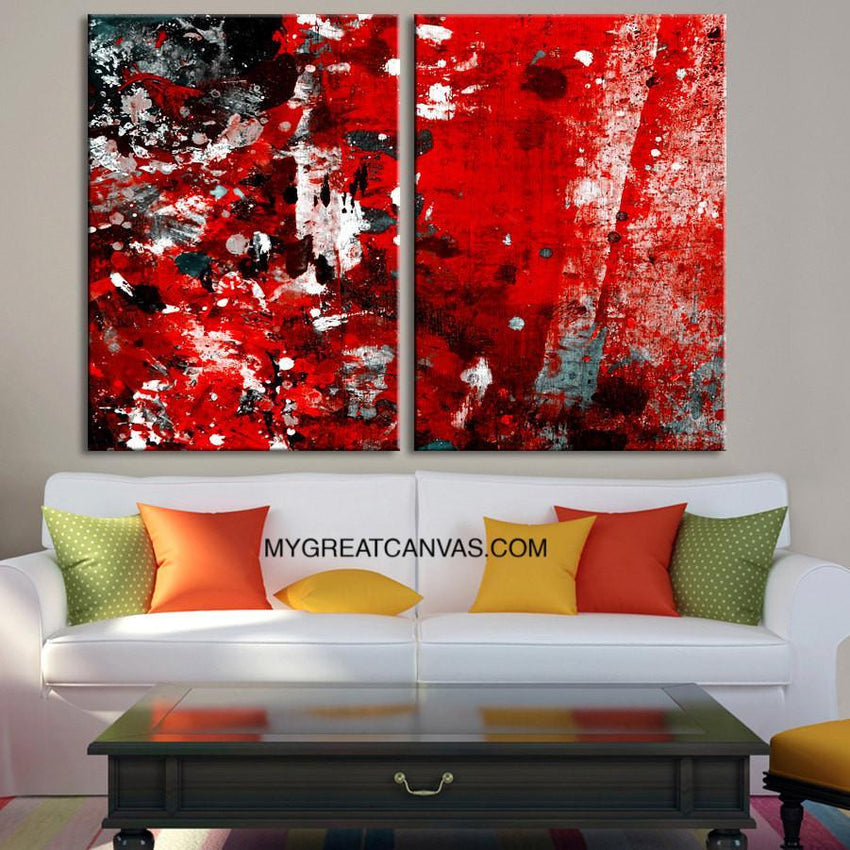 Abstract Colorful Wall Art Canvas Print | Diptych Red Black MixColor Canvas Art Print | Large Size Wall Art 2 Panel Canvas Print-Wall Art Canvas-Extra Large Wall Art Canvas Print-Extra Large Wall Art Canvas Print