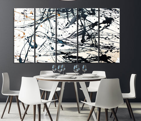 Abstract Splash Wall Art Canvas Print-Extra Large Wall Art Canvas Print-5 Panel-5P Per Panel 12x32-Extra Large Wall Art Canvas Print