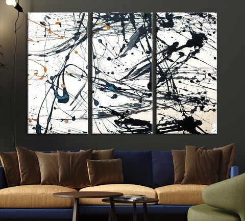 Abstract Splash Wall Art Canvas Print-Extra Large Wall Art Canvas Print-3 Panel-3P Per Panel 16x32-Extra Large Wall Art Canvas Print
