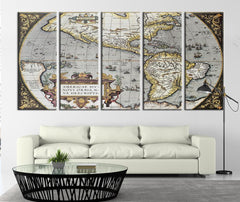 Age of Ancient America Map Canvas Print, Ancient Map of the America No:094-Wall Art Canvas-Extra Large Wall Art Canvas Print-Extra Large Wall Art Canvas Print