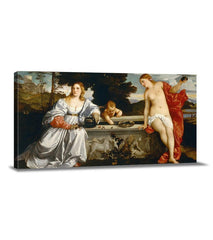 "Amor sacro e Amor profano Canvas Art Print | Tiziano ""Amor sacro e Amor profano"" Art Canvas Print 