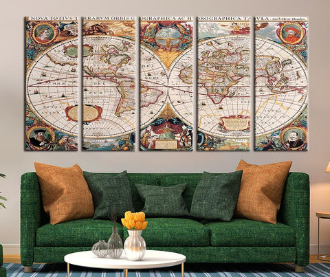 Ancient Age World Map Canvas Print, Vintage World Map Art Home Decor No:088-Wall Art Canvas-Extra Large Wall Art Canvas Print-Extra Large Wall Art Canvas Print