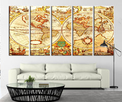 Ancient Map of the World Canvas Print, World Map Wall Decor No:090-Wall Art Canvas-Extra Large Wall Art Canvas Print-Extra Large Wall Art Canvas Print