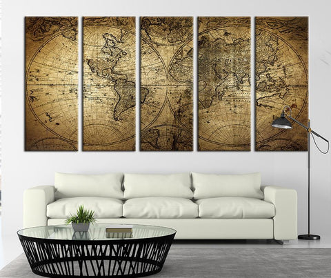 Ancient World Map Canvas Art Print, Grunge Wall Art, Vintage Canvas No:083-Wall Art Canvas-Extra Large Wall Art Canvas Print-Extra Large Wall Art Canvas Print