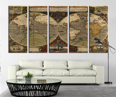 Ancient World Map Canvas Art Print, Vintage World Map Wall Decor No:089-Wall Art Canvas-Extra Large Wall Art Canvas Print-Extra Large Wall Art Canvas Print
