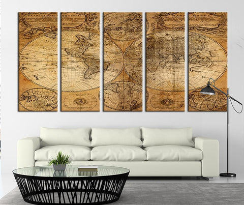 Ancient World Map on Old Paper Canvas Art Print, World Map Canvas Art Print No:092-Wall Art Canvas-Extra Large Wall Art Canvas Print-Extra Large Wall Art Canvas Print