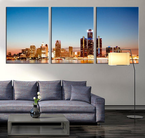ART Canvas Print - Detroit Skyline Night Cityscape, Detroit Large Canvas Print, Detroit City Art Canvas Print-Wall Art Canvas-Extra Large Wall Art Canvas Print-Extra Large Wall Art Canvas Print