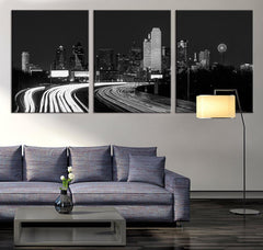 ART Canvas Print - Texas Dallas Skyline Black & White Night Cityscape, Dallas Large Canvas Print, Texas Dallas City Art Canvas Print-Wall Art Canvas-Extra Large Wall Art Canvas Print-Extra Large Wall Art Canvas Print