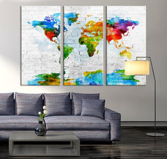 Art Canvas Print - World Map Art on Brick Wall Background - Watercolor 3 Panel World Map Print on Canvas, Framed and Streched,-Wall Art Canvas-Extra Large Wall Art Canvas Print-Extra Large Wall Art Canvas Print
