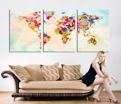 Art CANVAS PRINT - World Map Paint Splashed Canvas Art Print, Vintage World Map Art Print, Extra Large Retro World Map Print-Wall Art Canvas-Extra Large Wall Art Canvas Print-Extra Large Wall Art Canvas Print